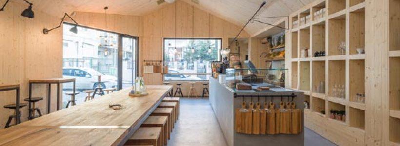 MICROTOPPING per un nuovo bar caffè. Lo sfondo perfetto per gli spazi design in stile nordico.