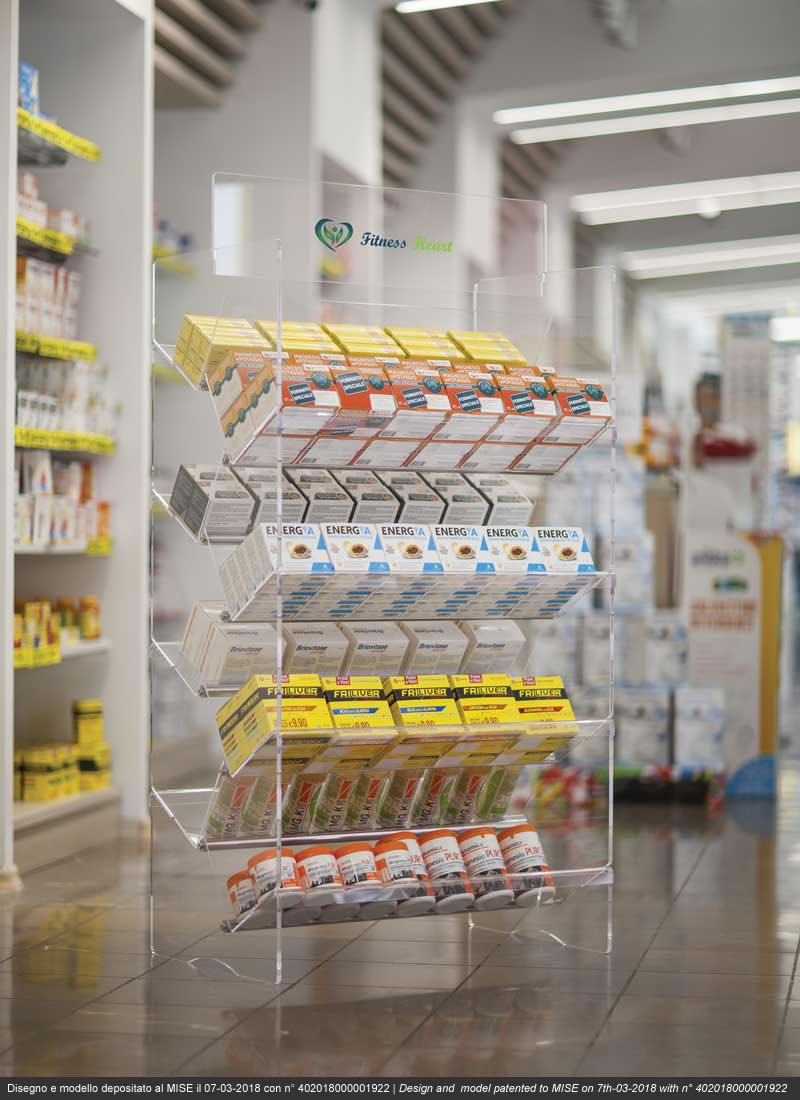 Arken espositore innovativo in plexiglass per farmacie