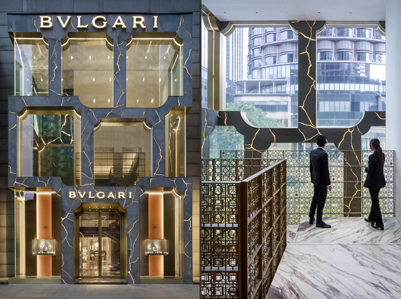 Bulgari flagship Kuala Lumpur store features a marble-veined façade designed by MVRDV