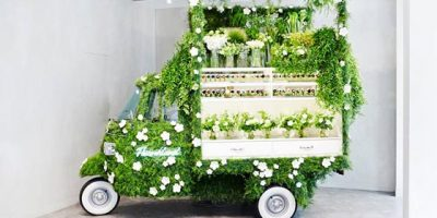 The pop-up flower shop is a collaboration between Fendi and floral artist Makoto Azuma
