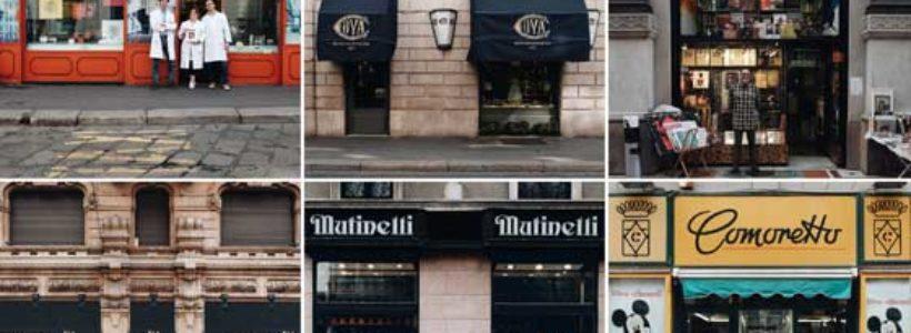 T'insegno Milano. Un inedito tour fotografico delle antiche insegne di negozi e botteghe della città.