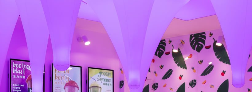 Superfusionlab has completed a new juice bar in Hangzhou, China.