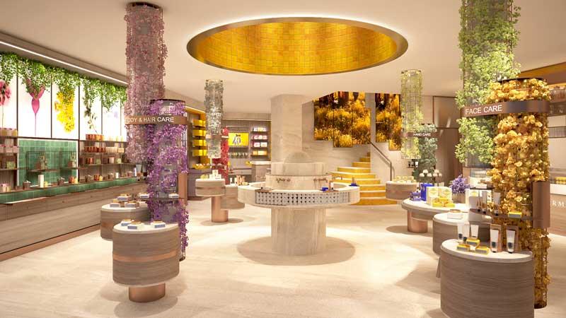 Uxus progetto negozio L Occitane Regent Street Londra
