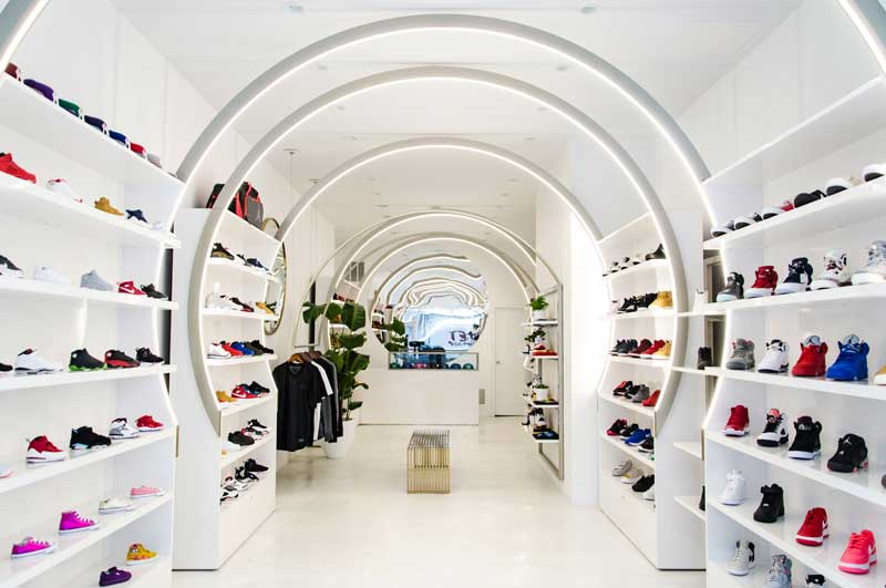 Christian Lahoude designs Solestice sneaker store in new york city