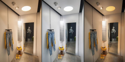 A perfect lighting concept for compact spaces to optimise the fitting room shopping experience.