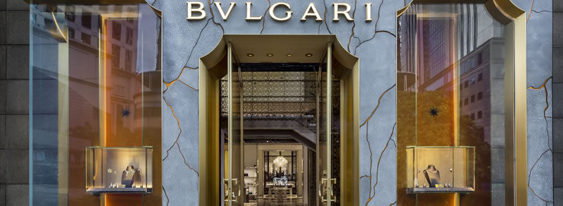 Bulgari's flagship Kuala Lumpur store features a marble-veined façade designed by MVRDV