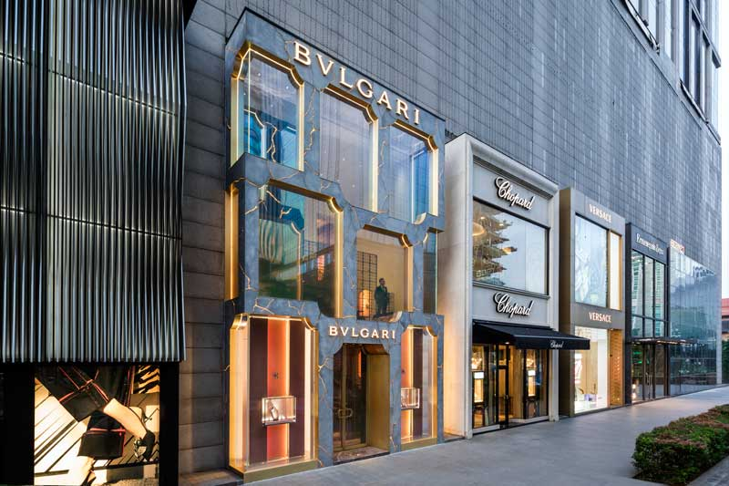 facciata del flagship store Bulgari a Kuala Lumpur