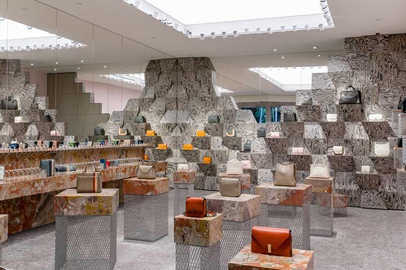 progetto interior design boutique Valextra Miami