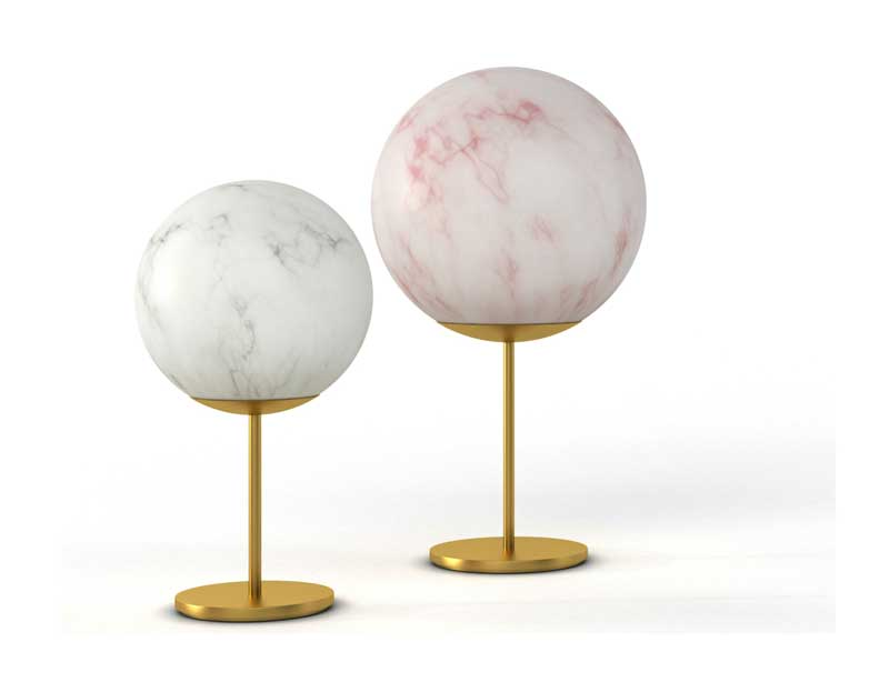 Mineral Stand collection of lamps with brass stem