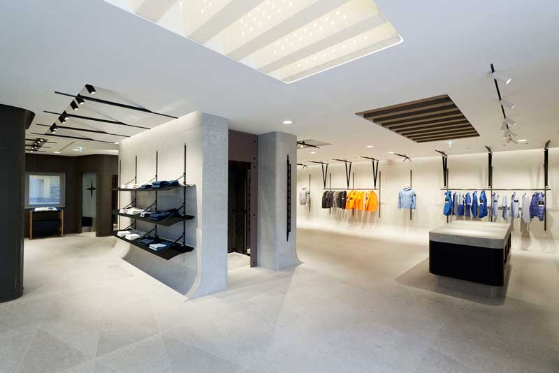 The interior of the space mimics Stone Island stores created by Marc Buhre