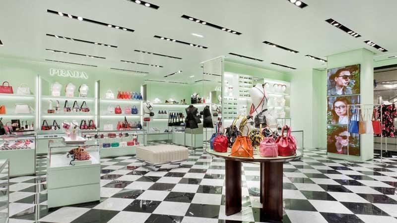 Prada store Printemps Haussmann shopping Mall Paris