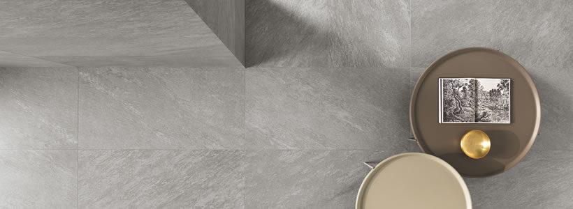 Effetto quarzite puro ed essenziale per la linea Aran di Ceramiche Keope