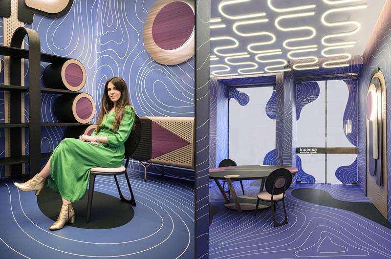 Wood Waves installazione di Elena Salmistraro