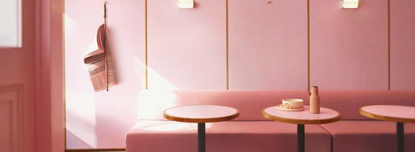 Le superfici di Formica Group in uno splendido ristorante in rosa su King's Road.