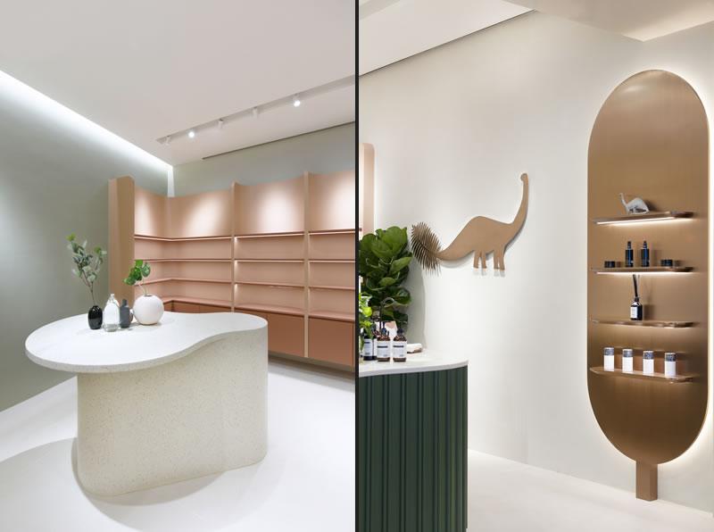 Bean Buro designed the Beautysaur Organics in Hong Kong