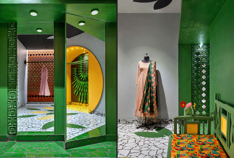Lo Studio Manoj Patel Design ha utilizzato materiali tradizionali e di riciclo per riprogettare la boutique abbigliamento Shefali a Vadodara, Gujarat, in India