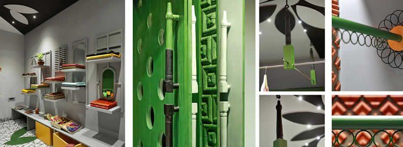 Materiali tradizionali e di riciclo per il progetto della Boutique SHEFALI