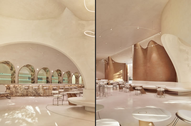 Designed by Ukrainian architecture firm KSh Design Bureau, The Sweet Cocktail Bar is a dessert cafe and cocktail bar concept in Abu Dhabi, United Arab Emirates
