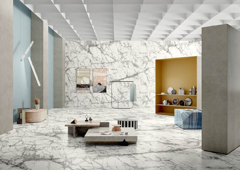 A new marble effect texture joins the MARMI MAXIMUM collection by Fiandre