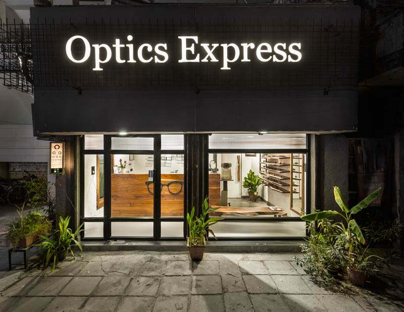 Sync Design Studio designed the Optics Express store