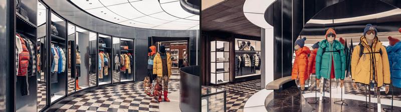 Raffinatezza parigina e architetture maestose si incontrano nella nuova boutique di Moncler, nei pressi dei prestigiosi Champs-Élysées e dell'iconico Arco di Trionfo