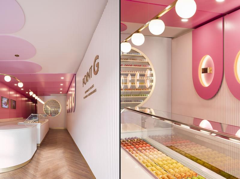 Progetto di interior design per la Pasticceria POINT G di  Montreal