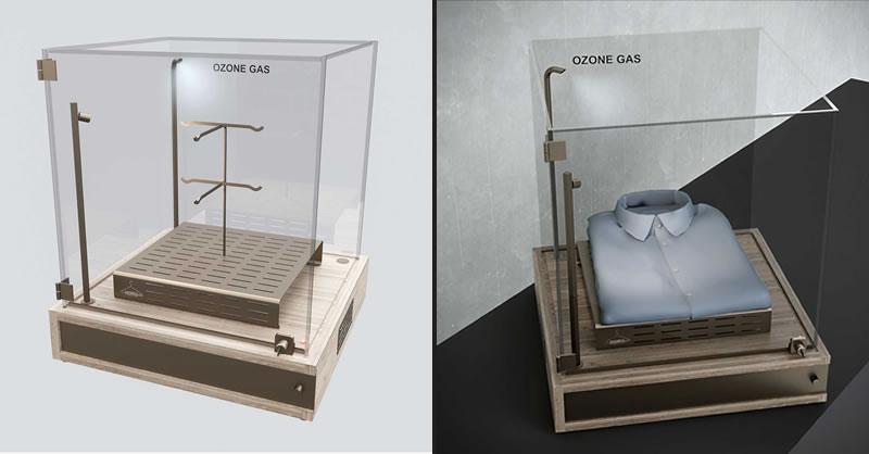 SANIDRESS è un elemento espositivo trasparente a 360° con sanificazione a vista ad ozono e Led integrato