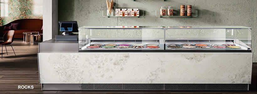 Creatività e connessioni, le nuove vesti per banchi e vetrine gelato disegnate da Luca Roccadadria per l'azienda BRX.