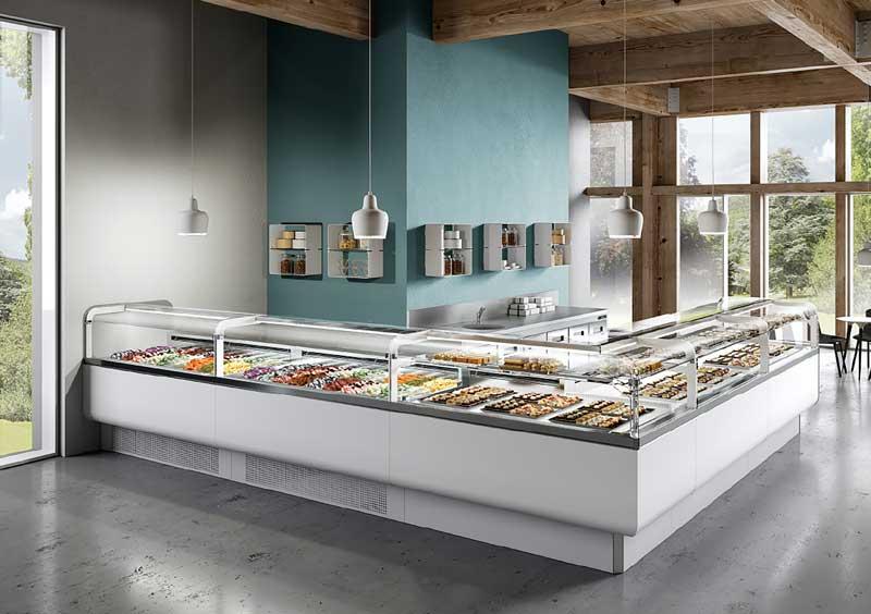 banchi e vetrine gelato disegnate da Luca Roccadadria per BRX