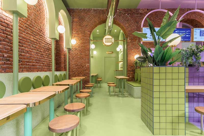 Masquespacio has just finished its first interior design project in Milan for Italian hamburger chain Bun