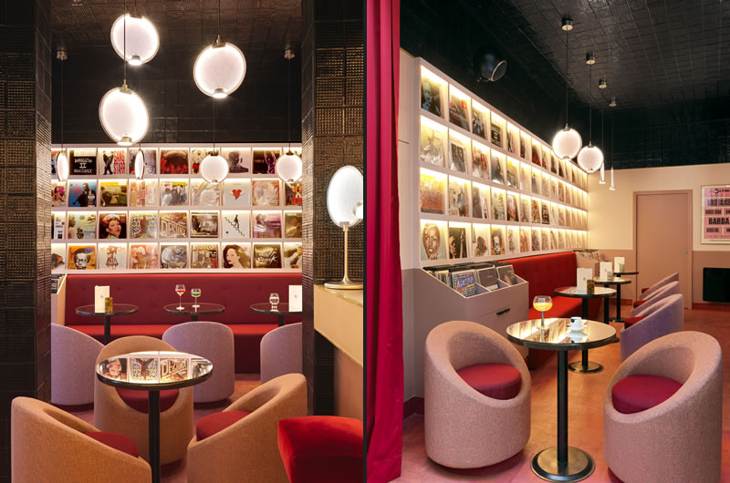 Horo Lighting collection by Masiero for the disco club mood of new Rupture store and café in Paris  designed by Pierre Gonalons